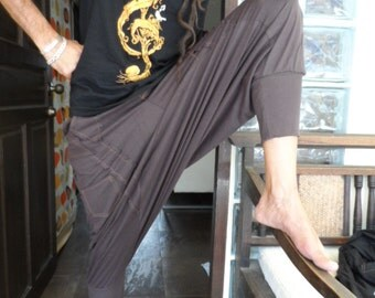 25% OFF CLEARANCE SALE  Harem Pants in Brown with orange stitching detail