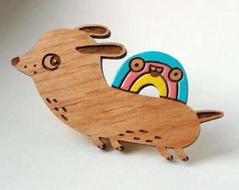 Flying Wiener Dog with Rainbow - wooden brooch