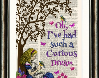 Alice in Wonderland  Dream Quote vintage book page print on a page from a late 1800s Dictionary