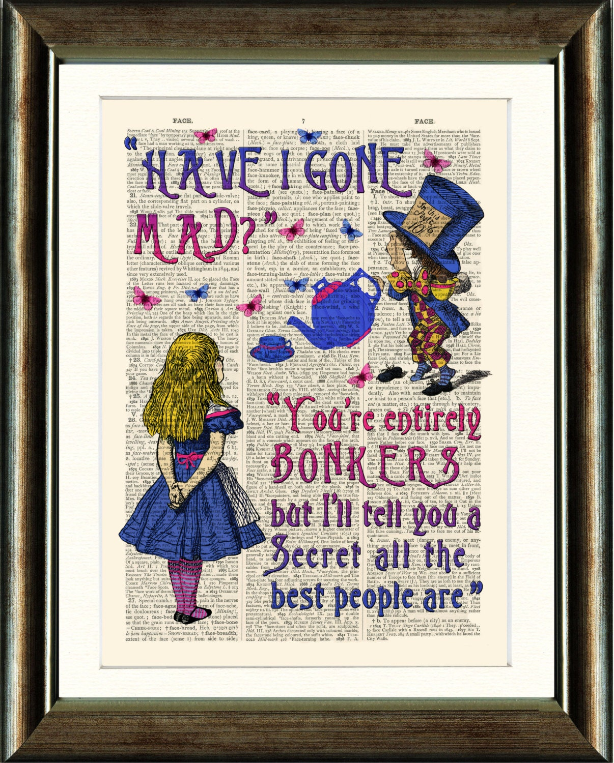 Alice In Wonderland Book Quotes: Alice In Wonderland BONKERS Quote Vintage Book Page Print On