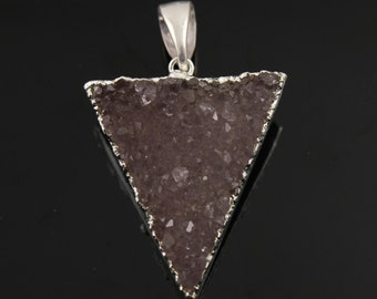 Dazzling Druzy Triangle Pendant in Stunning Earth Tones, Silver Plated, 27x34mm, A+ Gorgeous Quality, Electroplated Edge (SS-DZY/TRI/122)