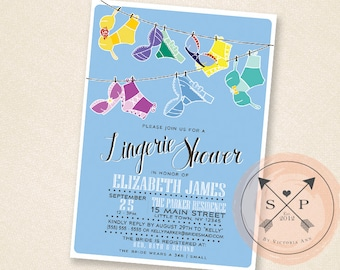 Princess Lingerie - Fairy Tale Inspired Printable Lingerie Shower Party Invitation Design