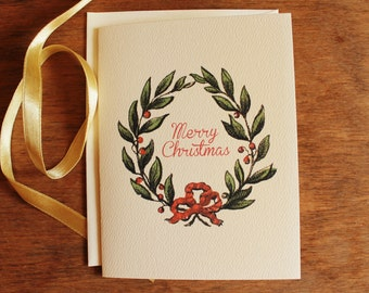 Merry Christmas Cards Set 10 Folded Cards With Envelopes Personalize for Free