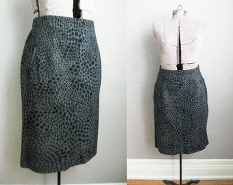Vintage Animal Print Skirt Grey Midnight Blue Mondi Pencil Skirt / Medium