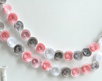 Pink and Gray Garland- Paper Flower Garland- Pink and Gray Party Garland- 8 feet