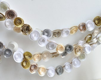 Christmas Garland- Paper Flower Garland- White, Silver, ivory and gold Garland