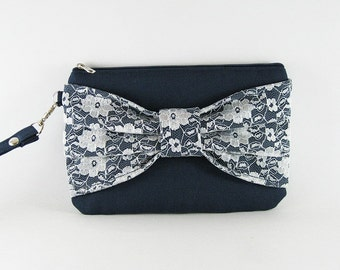 SUPER SALE - Navy Blue Lace Bow Clutch - Bridal Clutches, Bridesmaid Wristlet, Wedding Gift, Cosmetic Bag, Zipper Pouch - Made To Order