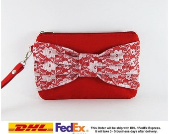 SUPER SALE - Set of 6 Red Lace Bow Clutches - Bridal Clutch, Bridesmaid Clutch, Bridesmaid Bag, Wedding Gift,Zipper Pouch - Made To Order