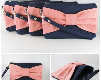 SUPER SALE - Set of 5 Navy with Peach Bow Clutches - Bridal Clutches, Bridesmaid Wristlet, Wedding Gift, Zipper Pouch - Made To Order