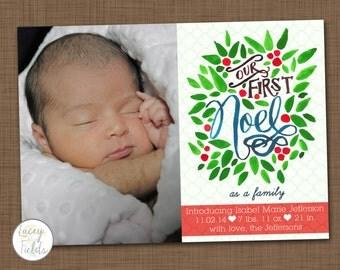 Baby birth announcement- Christmas birth announcement- Holiday birth announcement- handlettered birth announcement- unique birth