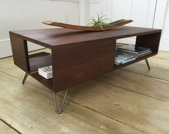 Fat Boy Mid Century Modern Coffee Table With Storage Featuring Black Walnut Hairpin Legs