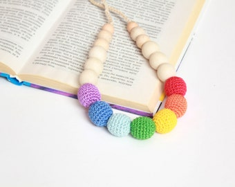 Rainbow Mom Necklace- Colorful Crochet Nursing Necklace-Breastfeeding Necklace- Multicolor Teething Necklace with Crocheted Beads