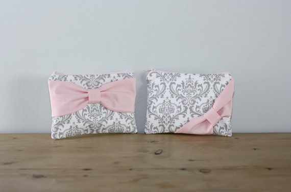 Makeup Bag / Zipper Pouch / Cosmetic Case - Gray and White Damask Light Pink Bow