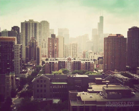 Sunshine Over Chicago - fine art print, Chicago skyline photograph, Illinois photography, picture of Chicago