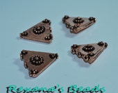 Antiqued Copper-Plated Triangle Beads- Set of 4