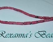 Rhodonite Gemstone Square Tube Beads- Set of 27