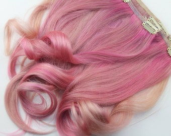 Full Set Pastel Pink Clip in Extensions. 100% Human Hair, 18 Inches Long, Double Wefted.