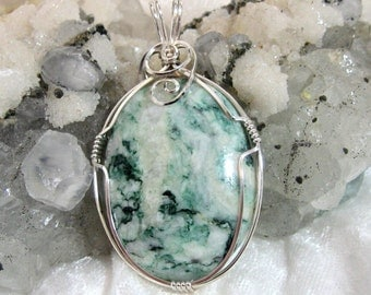 40x30 Green Tree Agate Pendant 935 Solid Sterling Silver Wire Wrapped in Argentium Anti Tarnish wire