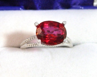 Mystic Topaz Ring Peony Red Ring Rope Design 10x8 3 Ct 925 Solid Sterling Silver Size 6 1 4