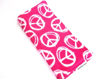 SALE - Burp Cloth - Peace Signs on Hot Pink - Terrycloth