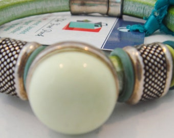 A Lemon Citron Embellished  Regaliz Leather Bracelet, Leather Bracelet, Regaliz Leather Bracelet, Lemon Citron Stone Bracelet/Reduced 50%