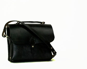 Black Leather Small Satchel Cross Body Bag / Made in USA