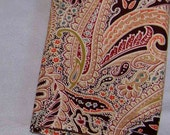 "Pocket Square - Men's Pocket Square - Paisley in Peach and Brown Men's Pocket Square 9"" X 9"""