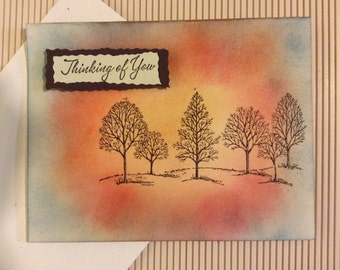 Thinking of You handmade greeting card winter trees sunset hills look blank inside