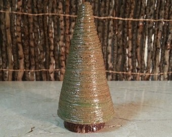 Cremation Urn - Stoneware Cremains Jar - READY to SHIP - EVERGREEN - Up to 1/2 lb