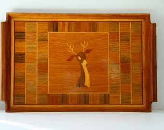 Vintage Inlaid Wood Tray with Deer Image Handles Antlers Camp Cabin Christmas Decor