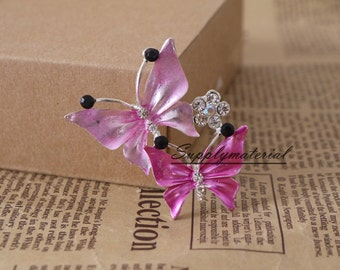 1PCS Pink conjoined Butterfly Flatback Alloy jewelry Accessories materials supplies