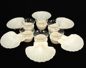 6 Karoff Sea Servers Shrimp Cocktail Servers, Federal Glass Cups, Clam Shell Party Set