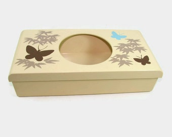 Aquetta Ware Butterfly Tissue Box Cover, Cream Blue and Brown Bamboo Tissue Holder, Vintage Plastic Storage Box
