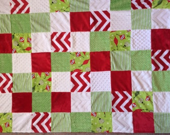 Large Minky Patchwork Blanket Christmas