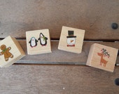 New!!  Set of Chrismas Themed Rubber Stamps