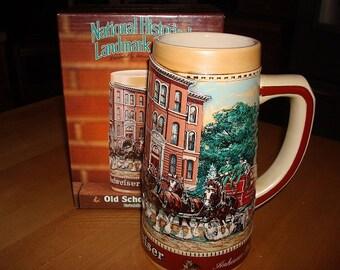 Historical Landmark Series Old School House Ceramic Budweiser Beer Stein With Original Box