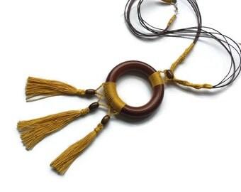 Boho Necklace, Bohemian Gypsy, Crochet Necklace, Tassels, Brown Gold, Long Necklace, Hippie, Wooden Necklace,  Cotton, Boho Jewellery, OOAK