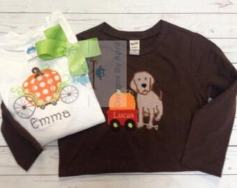 Pumpkin Chariott Shirt- Disney Shirt- Monogram Fall Shirt - Pumpkin Dog Shirt