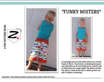 Funky Mister -  Boys PDF Shorts Pattern sizes 0 - 8 and 10