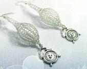 Alice in Wonderland earrings. Handmade stylish dangle earrings. Wire crochet long handmade earrings .