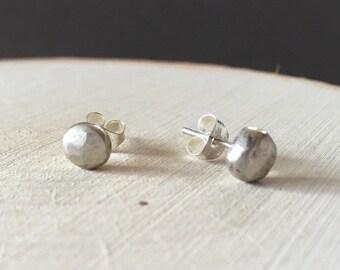 Sterling Silver Faceted Stud Earrings