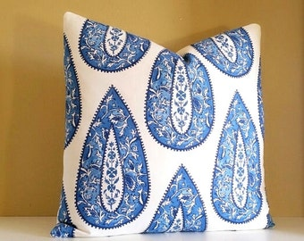 Designer Pillow Cover -Lacefield fabric Large Cobalt Paisley Pillow Cover - Pick your pillow Size 16x16 - 26x26 available