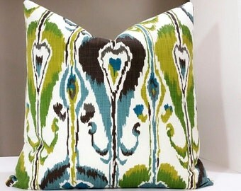 Robert Allen Ikat Bands - Robert Allen Rain Pillow Cover 16x16 18x18 20x20 22x22 24x24 26x26 Blue Ikat Pillow, Green Ikat Pillow