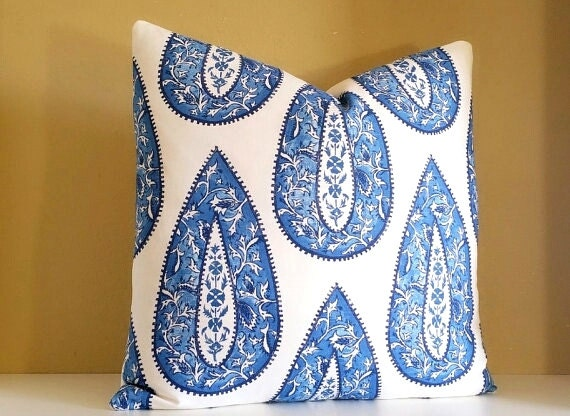 Designer Pillow Cover - Large Cobalt Paisley Pillow Cover - Pick your pillow Size - Solid back Or Print Both sides - 16x16 - 26x26 available