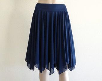 Navy Blue Bridesmaid Skirt. Navy Blue Knee Length Skirt. Stretch Short Skirt.