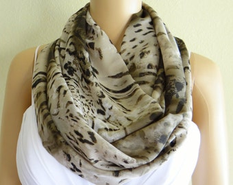 Pattern Scarf. Printed Infinity Scarf. Printed Circle Scarf. Soft Chiffon Loop Scarf.