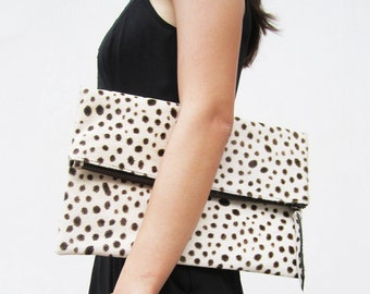 White Leopard Print Calf Hair Fold Over Zipper Pouch Leather Clutch