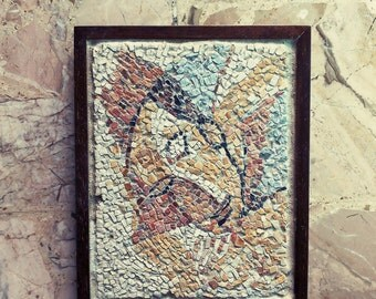 mosaic / stone mosaic  wall art mosaic / picasso inspired / portrait / antique mosaic / art made in italy / red white mustard grey