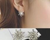 Crystal Rhinestone Snowflake Star Ear Stud Earring Wedding Bridal Silver