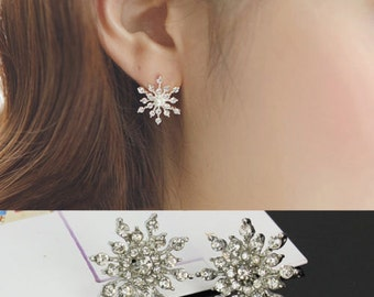 Crystal Rhinestone Snowflake Star Ear Stud Earring Wedding Bridal Silver